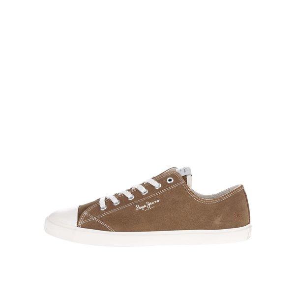 Pantofi sport maro Pepe Jeans Tokio din piele întoarsă de la Pepe Jeans in categoria pantofi sport și teniși
