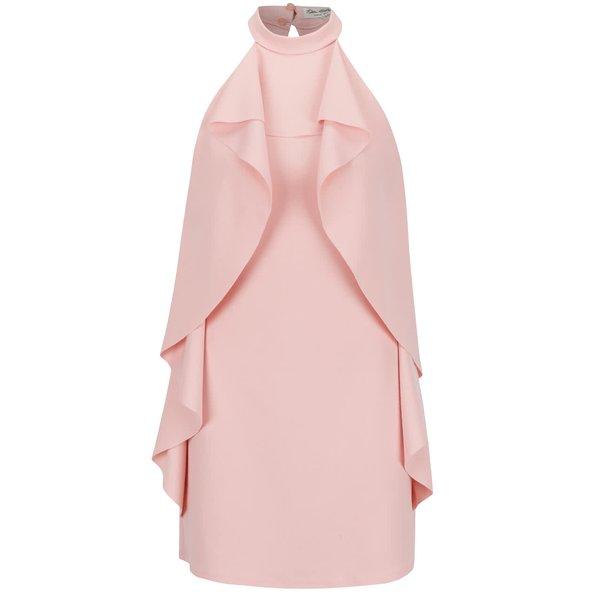 Rochie halter roz pal Miss Selfridge cu volane laterale ample de la Miss Selfridge in categoria rochii de seară