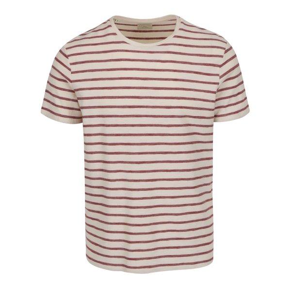 Tricou crem Selected Homme Kris cu model în dungi de la Selected Homme in categoria tricouri
