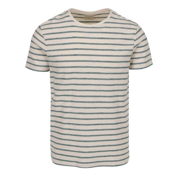 Tricou crem&turcoaz Selected Homme Kris cu model în dungi de la Selected Homme in categoria tricouri