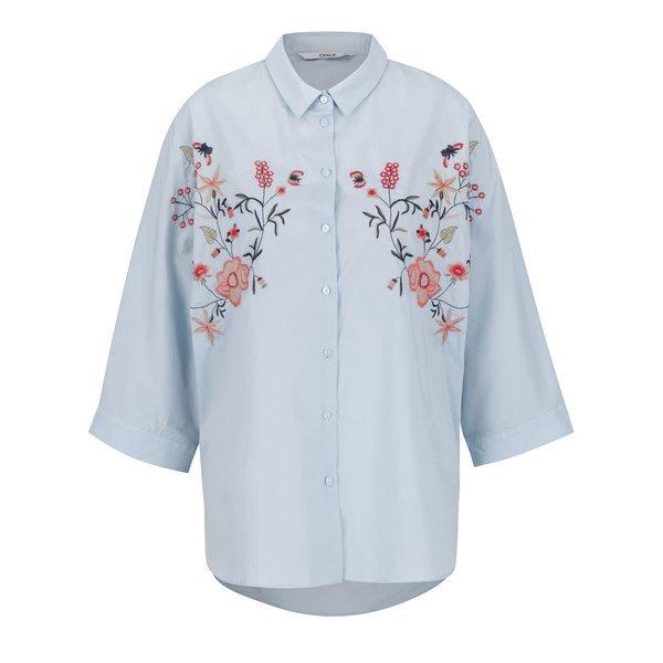 Cămașă bleu cu broderie ONLY Metta din bumbac de la ONLY in categoria Topuri, tricouri, body-uri