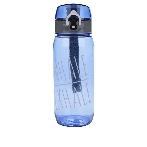 Sticlă pentru fitness albastră Loooqs Inhale Exhale cu sistem de blocare