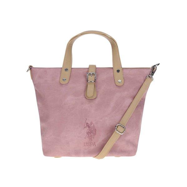Geantă roz deschis U.S. Polo Assn. cu detalii bej de la U.S. Polo Assn. in categoria genți mari