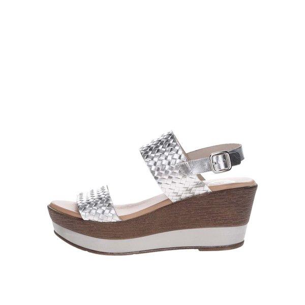 Sandale argintii din piele cu platforma OJJU