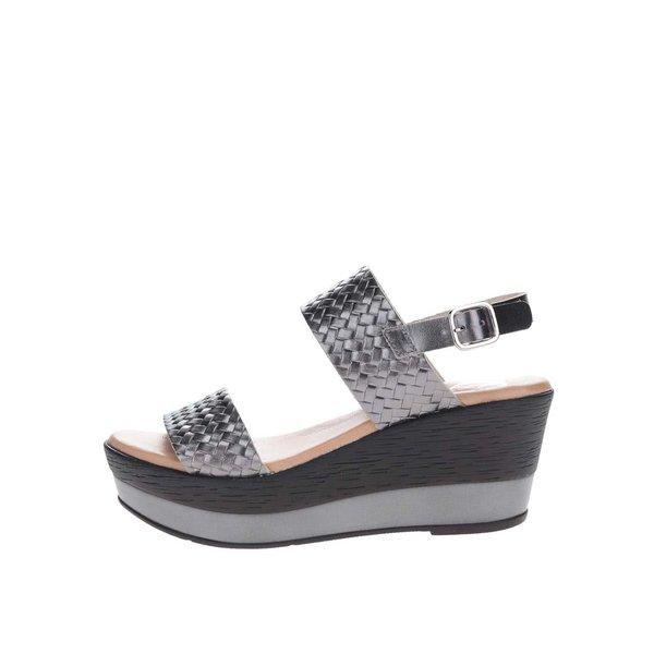 Sandale gri închis OJJU din piele cu platformă de la OJJU in categoria sandale