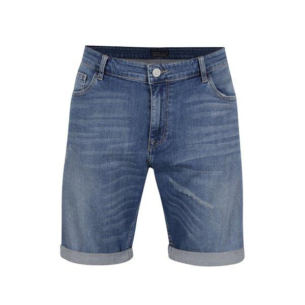 Pantaloni scurti albastru deschis Cross Jeans din denim cu aspect deteriorat si tiv indoit