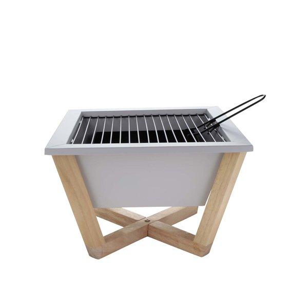 Grill portabil alb XD Design Nido cu suport din lemn de la XD Design in categoria CASĂ ȘI DESIGN