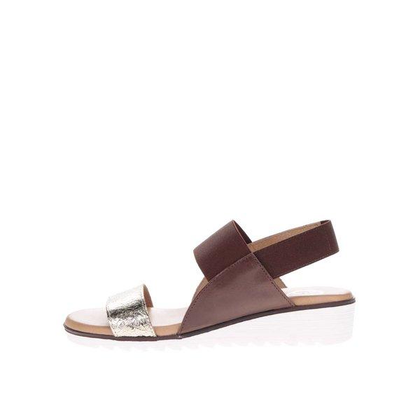 Sandale maro cu argintiu din piele cu platforma OJJU