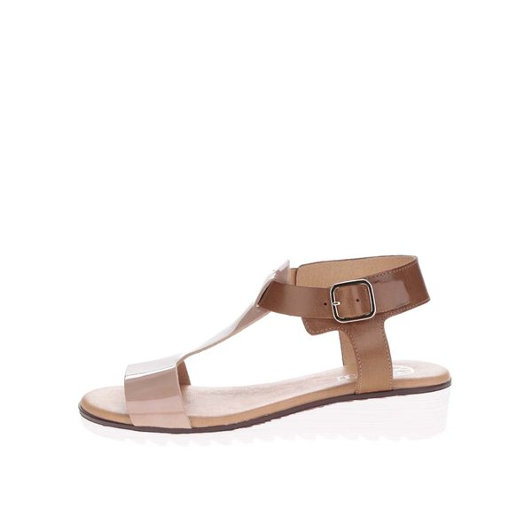Sandale bej cu maro din piele cu cataramă OJJU de la OJJU in categoria sandale