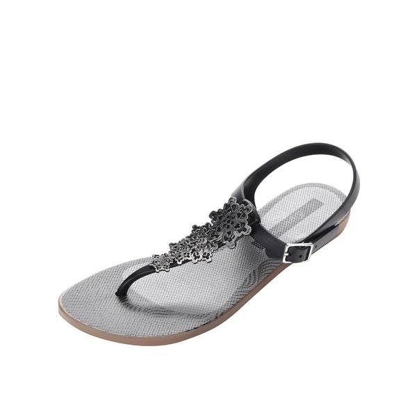 Sandale negre Grendha Cargo cu detalii argintii de la Grendha in categoria sandale