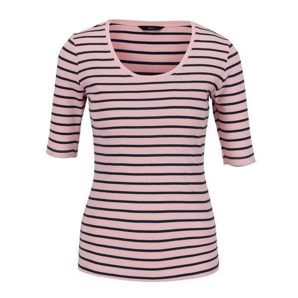 Bluză roz M&Co din bumbac cu model în dungi și mâneci medii de la M&Co in categoria tricouri