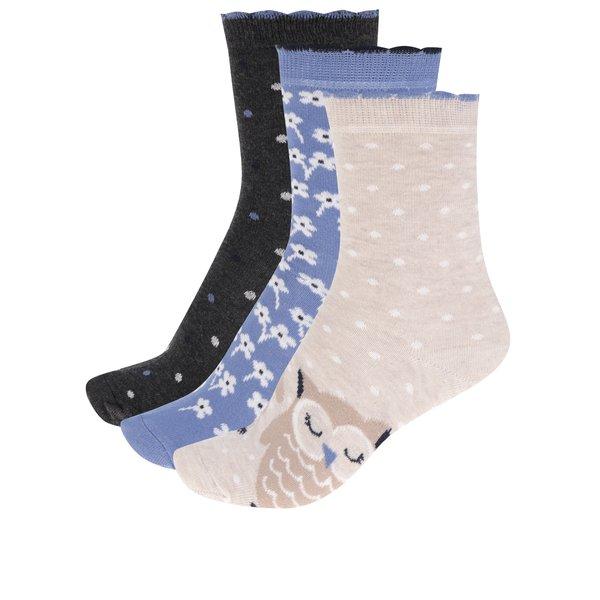 Set de 3 perechi de șosete bej & albastru M&Co cu model de la M&Co in categoria Dresuri si șosete