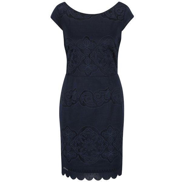 Rochie albastru închis VILA Bellina cu decolteu rotund de la VILA in categoria rochii de seară