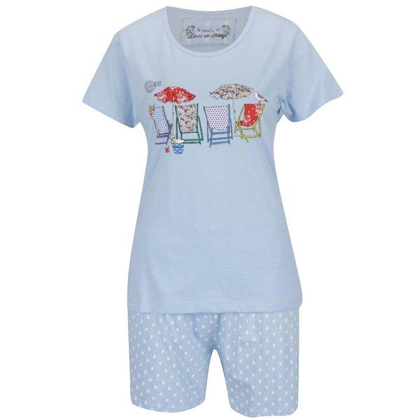 Pijama albastru deschis M&Co din bumbac cu print și model cu buline de la M&Co in categoria Lenjerie intimă, pijamale, costume de baie