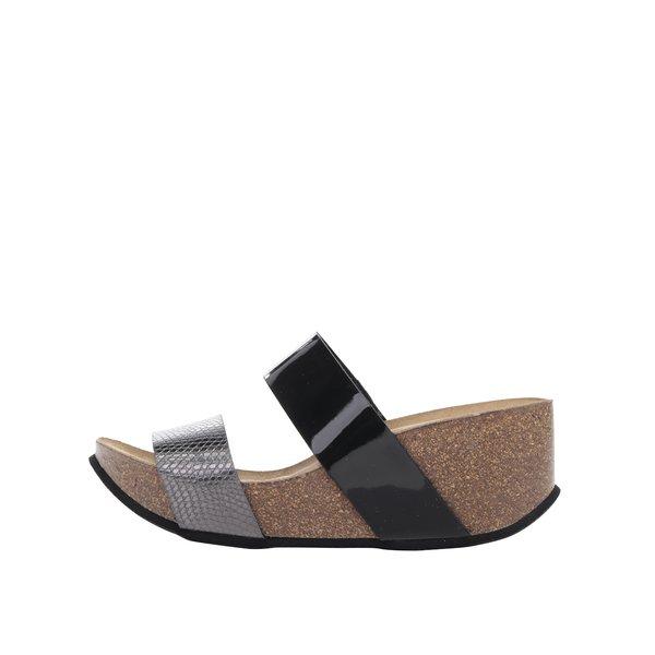 Papuci gri&negru OJJU cu platformă de la OJJU in categoria șlapin