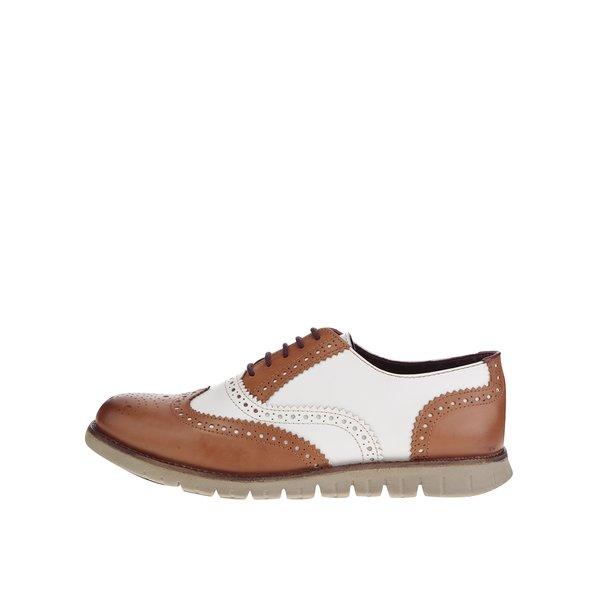 Pantofi oxford alb&crem din piele London Brogues Gatz Oxford de la London Brogues in categoria pantofi și mocasini