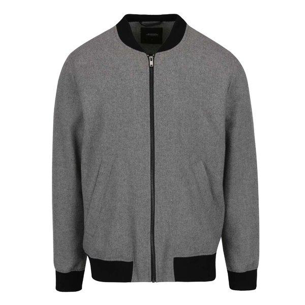 Jachetă bomber gri melanj Burton Menswear London cu terminații elastice