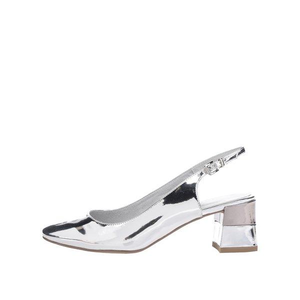 Pantofi slingback argintii Tamaris cu toc masiv de la Tamaris in categoria pantofi cu toc