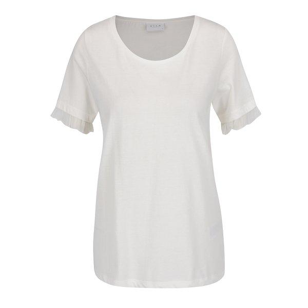 Tricou crem VILA Dreamers cu volane pe mâneci de la VILA in categoria tricouri