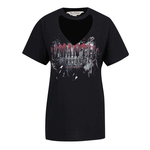 Tricou negru cu imprimeu Miss Selfridge cu decupaj