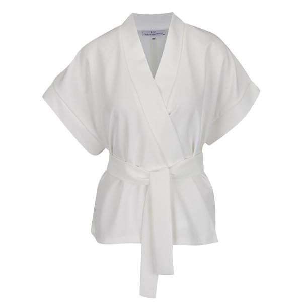 Kimono alb Laura Dumitrescu Bold Sparrow cu print pe partea din spate de la Laura Dumitrescu in categoria Topuri, tricouri, body-uri