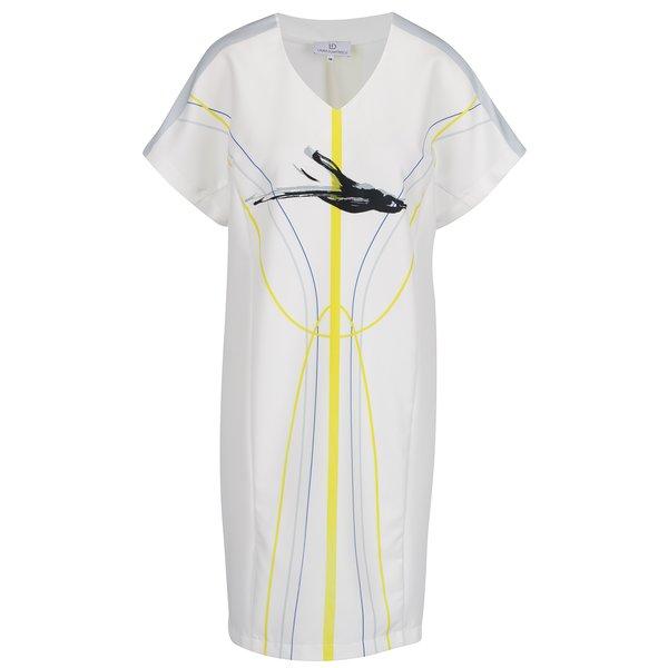 Rochie albă midi Laura Dumitrescu Swift-Flying Blackbird cu print grafic de la Laura Dumitrescu in categoria rochii de seară