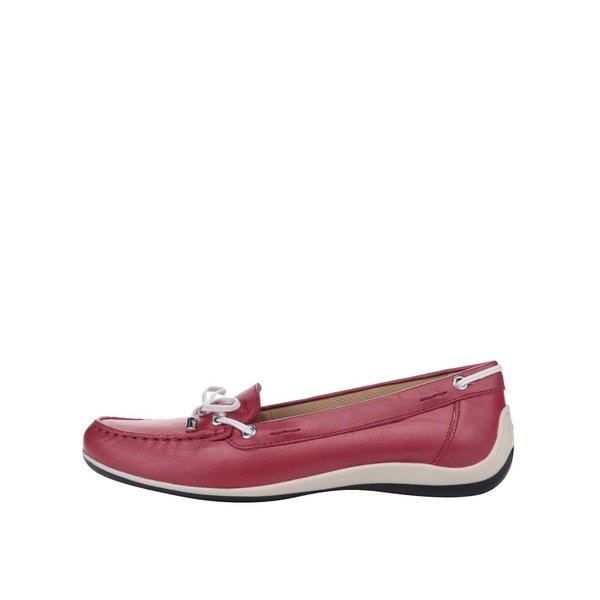 Mocasini roși Geox Yuki cu fundă decorativă de la Geox in categoria pantofi și mocasini