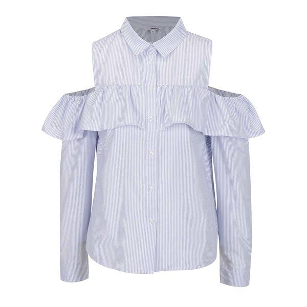 Cămașă albastru & alb TALLY WEiJL cu decupaje, model în dungi și volan decorativ de la TALLY WEiJL in categoria Topuri, tricouri, body-uri