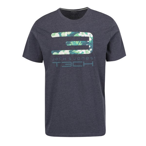 Tricou gri închis Jack & Jones Tropic cu print de la Jack & Jones in categoria tricouri