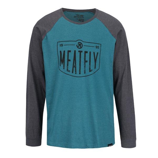 Bluză gri & verde MEATFLY Rikker cu print pentru bărbați de la Meatfly in categoria bluze