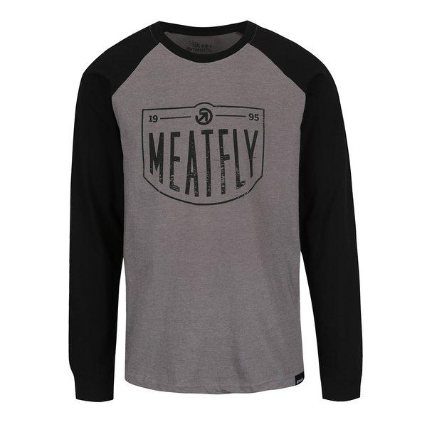 Bluză negru & gri melanj MEATFLY Rikker cu print pentru bărbați de la Meatfly in categoria bluze