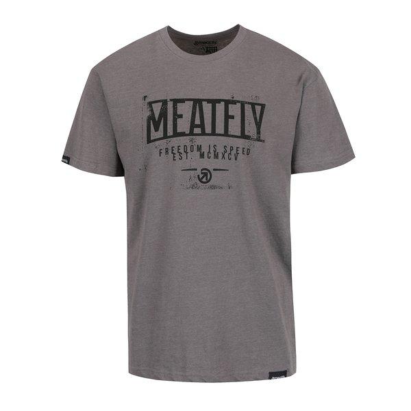 Tricou gri cu print MEATFLY Speed pentru bărbați de la Meatfly in categoria Tricouri și bluze