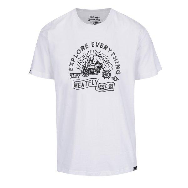 Tricou alb cu print MEATFLY Trip pentru bărbați de la Meatfly in categoria tricouri