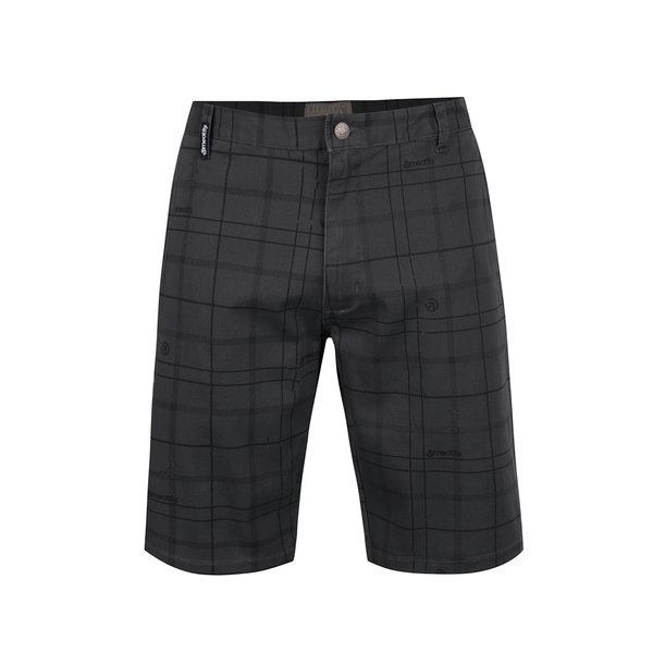 Pantaloni scurți gri închis MEATFLY Anthrax 17 cu model în carouri