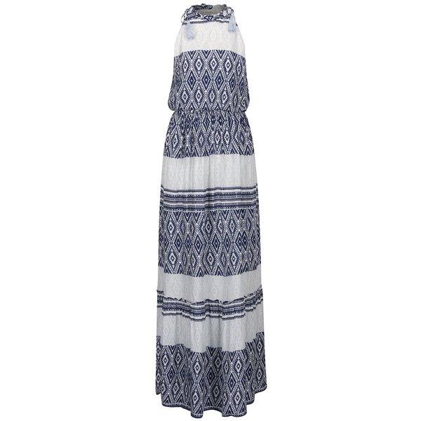 Rochie albastru&crem VERO MODA Jasmine cu talie elastică de la VERO MODA in categoria rochii de vară și de plajă