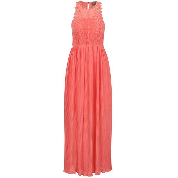 Rochie roz piersică VERO MODA Celeste cu inserții din dantelă de la VERO MODA in categoria rochii de seară