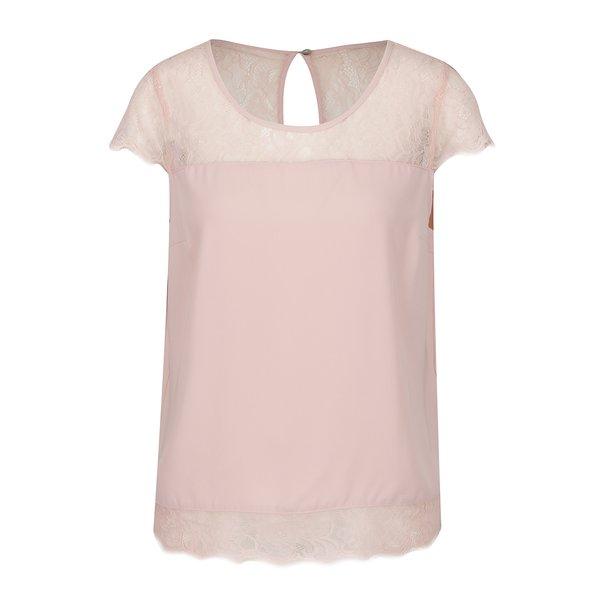 Tricou roz pal ONLY Lin cu inserții din dantelă de la ONLY in categoria Topuri, tricouri, body-uri