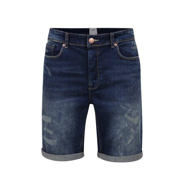 Pantaloni scurți albaștri Burton Menswear London din denim cu efect de uzură de la Burton Menswear London in categoria Blugi, pantaloni, pantaloni scurți
