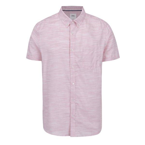 Cămașă roz melanj Burton Menswear London cu mâneci scurte