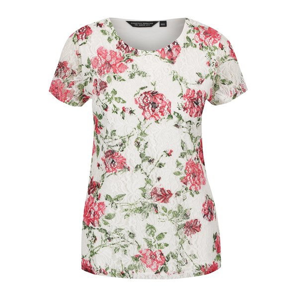 Tricou crem Dorothy Perkins cu imprimeu floral de la Dorothy Perkins in categoria Topuri, tricouri, body-uri