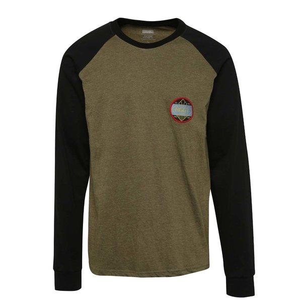 Bluză sport verde olive NUGGET Module cu mâneci raglan negre