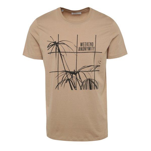 Tricou maro deschis Selected Homme Noam cu print de la Selected Homme in categoria tricouri