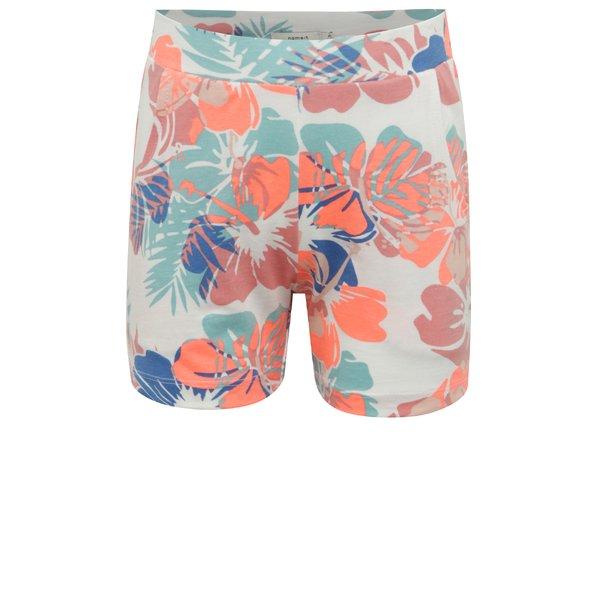 Pantaloni scurti albi pentru fete cu model floral name it Viggajo