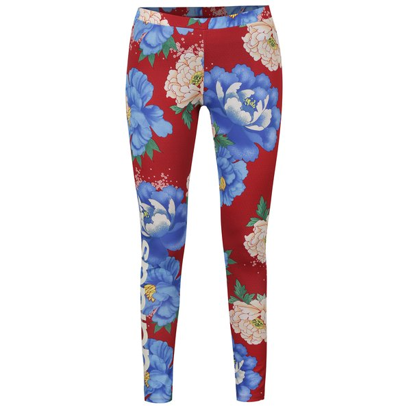 Colanți roșii adidas Originals cu model floral de la adidas Originals in categoria Blugi, pantaloni, colanți