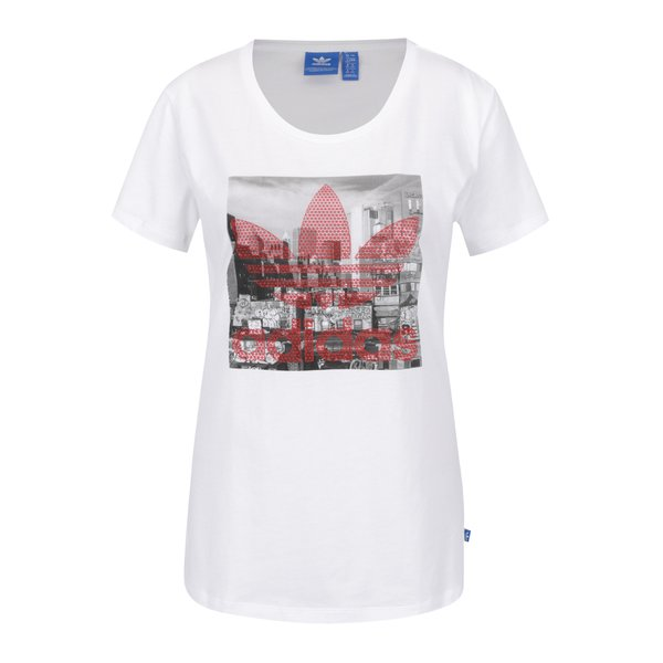 Tricou alb adidas Originals Trefoil cu print de la adidas Originals in categoria tricouri