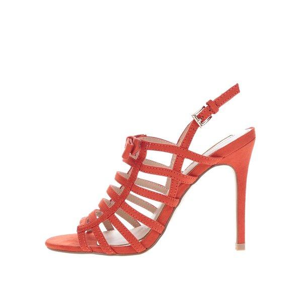 Sandale roșii Miss Selfridge cu aspect de piele întoarsă de la Miss Selfridge in categoria pantofi cu toc