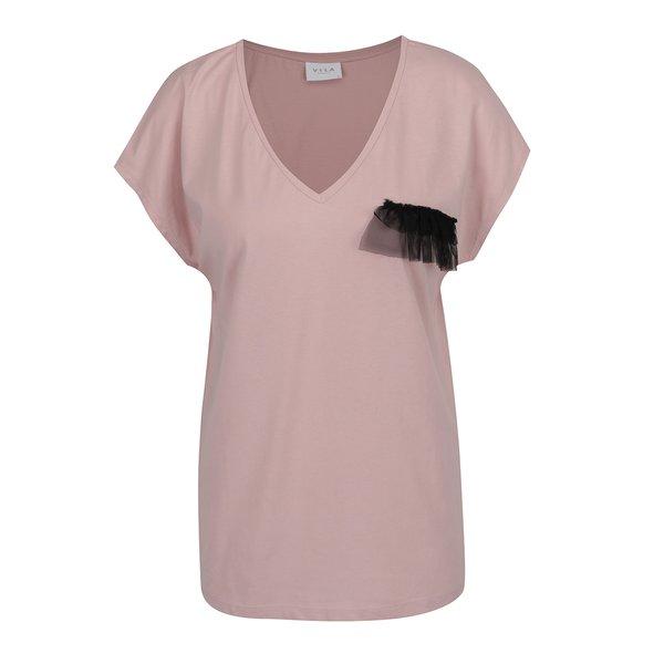 Tricou roz prăfuit VILA Dreamers de la VILA in categoria tricouri