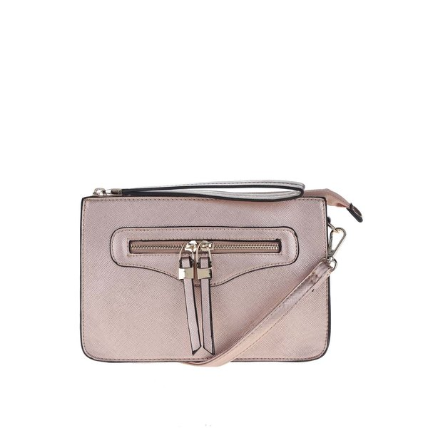 Geantă crossbody roz pal Miss Selfridge cu buzunar exterior
