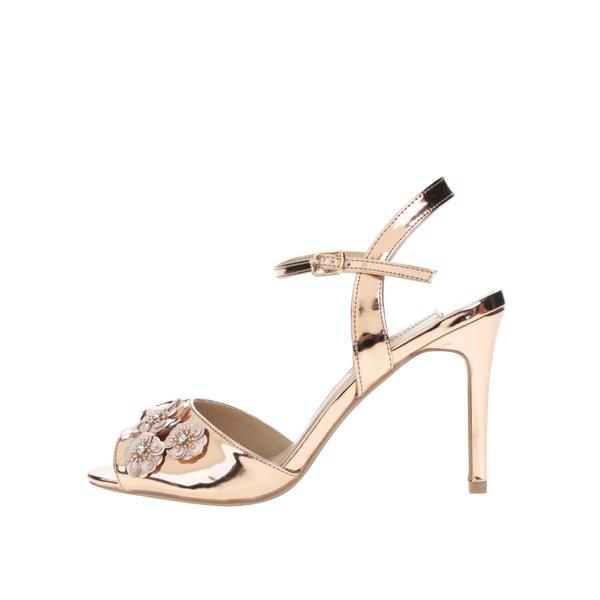 Sandale aurii Dorothy Perkins cu aplicații florale de la Dorothy Perkins in categoria pantofi cu toc