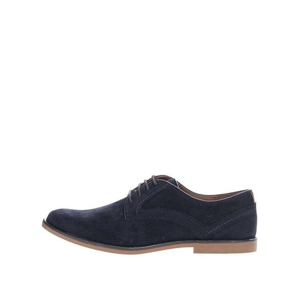 Pantofi bleumarin Burton Menswear London cu aspect de piele intoarsa